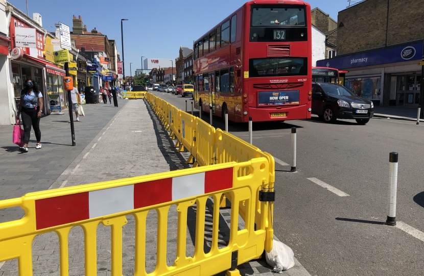 Image of Eltham High Street with social distancing barriers