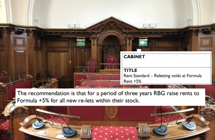 Extracts from the Cabinet report highlighting the proposed increase in rents